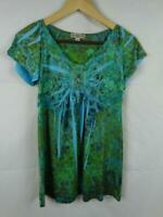 LIVE AND LET LIVE Blue & Green Short Sleeve Shirt Top Petite Size Medium PM