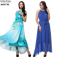 PLUS SIZE Women Floral Halter Chiffon Maxi Dress 12 14 16 18 20 22 24