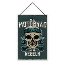 Motorrad Regeln 20 x 30 cm Holz-Schild 8 mm Spruch Motiv Geschenk Männer Biker