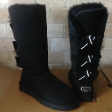 UGG Amelie Bailey Bow Triple Triplet Crystal Swarovski Tall Black Boots 5 Womens