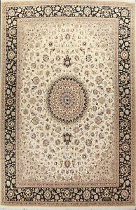 Wool/ Silk Vegetable Dye Tebriz Oriental Area Rug Handmade IVORY Carpet 10x14 ft