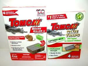 1pk Tomcat Mouse Killer 2 (Kid Resistant Disposable Bait Station) 1pk Glue Traps