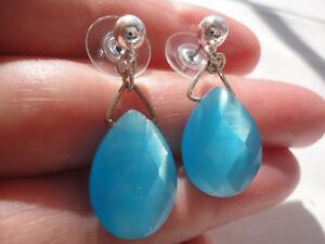 Silver-plated ball faceted blue glass teardrop 31mm drop 6 gram pierced earrings