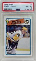 MARIO LEMIEUX 1988 Topps NHL Ice Hockey Pittsburgh PENGUINS Card #1 PSA NM-MT 8