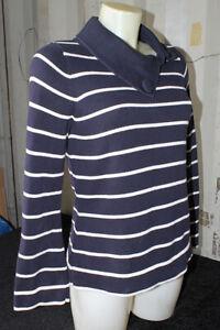 M&S Navy Blue & White Striped Jumper Oversized Collar Bell Sleeves Size UK 14