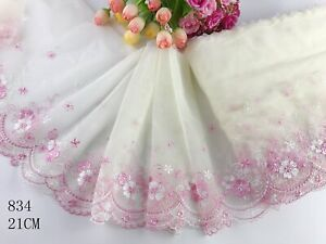 """8""""*1yard Delicate Embroidered flower  tulle Lace Trim sewing Craft DIY 834"""