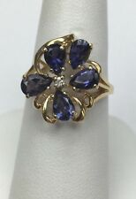 14K Yellow Gold Synthetic Tanzanite Cocktail Ring Size 7.5