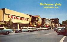 BURLINGAME, CA Street Scene Burlingame Ave. Woolworth Co. 1960 Vintage Postcard