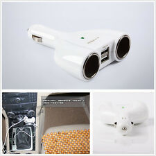 White 12/24V 2-Socket Autos Off-Road Dual USB Cigarette Lighter Charger Adapter