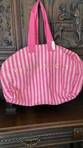 Victoria Secret Large Pink Stripe Tote Beach Bag Travel Logo Canvas NWT