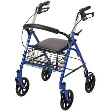 Medical Supplies Walkers Folding For Elderly Senior Blue With Seat Rolling Drive
