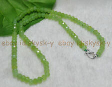 "AA 4x6mm NATURAL Peridot FACETED Rondelle Beads Necklaces 18"" Silver Clasp"