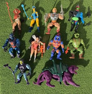 Vintage He Man Masters of the Universe MOTU Figures Lot and Weapons Mattel