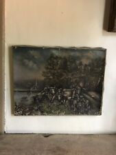 Folky Old Antique Hand Painted Canvas Cow Bull Country Painting Worn AAFA