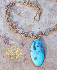 Aqua Turquoise Blue Earth Pendant Necklace 24K Thick Gold Chain Overlay Brass