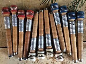 """Lot of 12 Textile Mill Wooden Vintage Spools Bobbin Quills 7"""" Primitive Lot #B"""