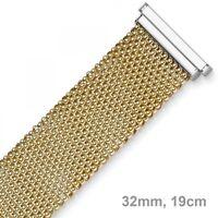 32mm Himbeer Armband Armschmuck aus 585 Gold Gelbgold & Weißgold, flach, 19cm
