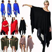 Women Loose Batwing Asymmetric Mini Dress Dolman Poncho Cape Top Tunic Plus Size