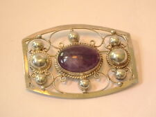 Mexican Sterling Silver with Amethyst Cab Filigree Pin Brooch - Handmade