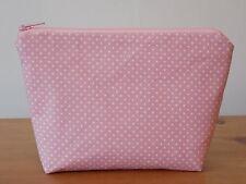 Handmade Make Up Bag Cosmetics Case Cotton Pink White Polka Dot Fabric Lined
