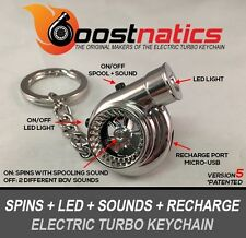 Boostnatics Rechargeable Electric Turbo Keychain w/ Sounds & LED - Chrome V5