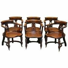 VERY RARE SET OF SIX ETON COLLEGE VICTORIAN WALNUT CAPTAINS CHAIRS CARVED EC