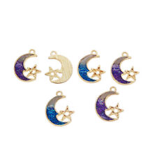 8 pcs Enamel Metal Moon Star Charms Purple & Blue Pendants Findings 20x15 mm