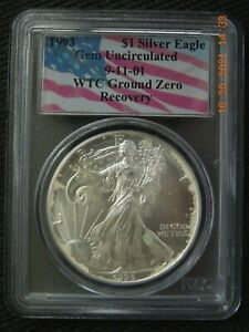 PCGS 1993 SILVER EAGLE GEM UNCIRCULATED 9-11-01 WTC GROUND ZERO RECOVERY