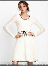 $220 Victoria's Secret Dress White Sweater Mixed Knit  M/L NEW FANTASTIC aweso