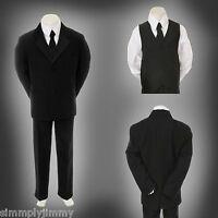 Baby Infant Toddler Kid Teen Formal Wedding Black Boy Suit Tuxedo 5pc Set S-20