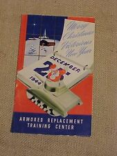 WWII US TANKER ARMORED REPLACEMENT TRAINING CENTER ARTC 1944 XMAS DINNER MENU