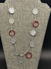 """Long Silver Tone Chain w/  Dangle Hammered Disc Red Enamel Circle Necklace 32"""""""