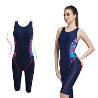 Women Swimsuit Knee Length Competition Sport Swimwear One Piece Padded Bodysuit