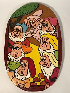 """Vintage  Disney Snow White Y the Seven Dwarfs Hand Painted Wood wall hanging 15"""""""