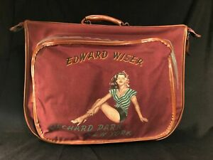 1946 Hand Painted Pin-Up Suitcase, Yokahama Tokyo, Atomic Age Insignia Post WWII