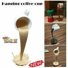Floating Cup Sculpture Pouring Liquid Coffee Mug Arts Decor Hot