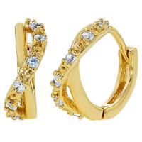 "18k Gold Plated Clear CZ Infinity Style Huggie Hoop Womens Earrings 0.47"""