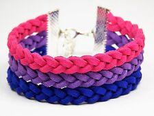 """Pink Purple Blue Bi Pride LGBT Flag Equality Bisexual, 6""""-8"""" Adjustable Bracelet"""
