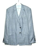 Mens Marks and Spencer Luxury Linen Blazer Jacket  Blue 48L  48 Long NEW