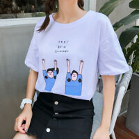 Women Casual Cotton T Shirt Short Sleeve Funny Printed T-shirt Summer Top  Cx