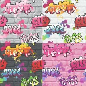 Graffiti Style Wallpaper Teenager Kids Spray Paint Street Art Urban Textured