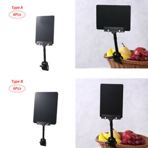 6 Chalkboard Clips Sign Holder Food Label Display Rotating Table Price Tag 6/8""