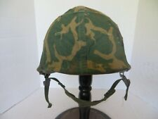 New listing U.S. Army M1 helmet with Erdl cover, liner and chinstrap.