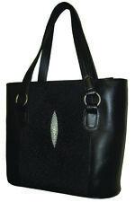 Genuine Stingray Leather Hand Bag, Black (02-247)