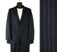 Pinstripe Suit 40L 34x32 Vintage Dark Blue Wool Blend Blazer Pants 2 Two Piece