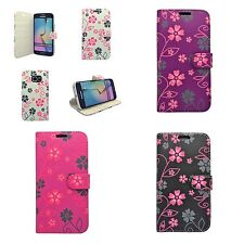 FOR SAMSUNG GALAXY S6 EDGE IN VARIOUS COLOURS FLOWER SWIRL DESIGN WALLET CASE