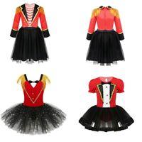 Kid Circus Ringmaster Romper Costume Outfit Girl Carnival Dress Party Tutu Skirt
