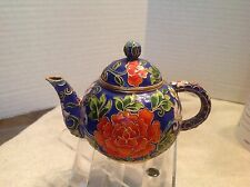 Cloisonne Enamel Cobalt and Pink and Orange Floral Small Tea Pot