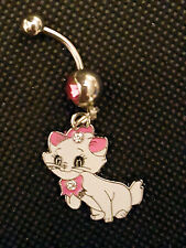 Maria cat Aristacats Belly Ring Navel Ring 14G Surgical Steel Dangle