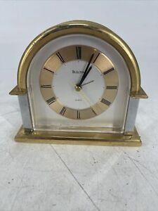 RARE Vintage Bulova Quartz Clock Mantle Desk Table Shelf Gold & Silver Tone